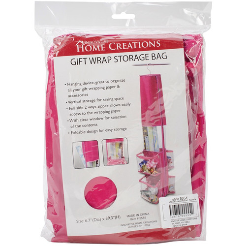 "INNOVATIVE HOME CREATIONS - Gift Wrap Storage Bag-12""X59"" Fuchsia (5555-F) 039676555552"