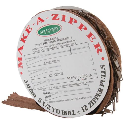 SULLIVANS - Make-A-Zipper Kit 5-1/2yd-Brown (951-55) 739301951550