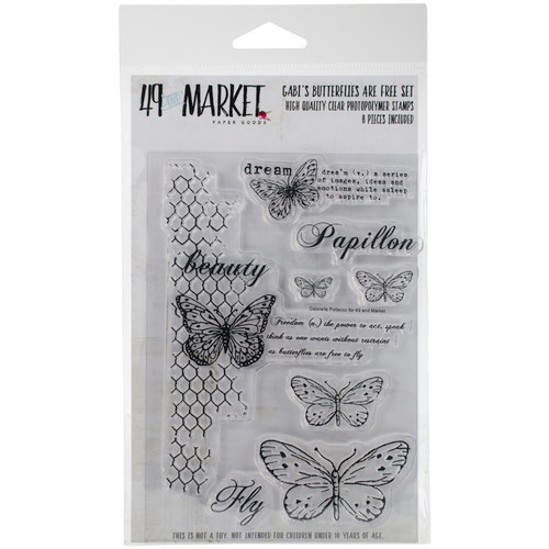 "49 AND MARKET - 49 & Market Clear Stamps 4""X6""-Gabi's Butterflies Are Free (GP4611) 014567984611"