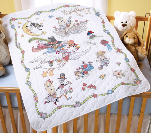 "BUCILLA - Mary Engelbreit Mother Goose Crib Cover Stamped Cross Stitch-34""x43"" (45359) 046109453590"