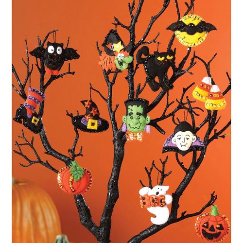 "BUCILLA - Halloween Ornaments Set Felt Applique Kit-3""X2"" Set of 12 (86430) 046109864303"
