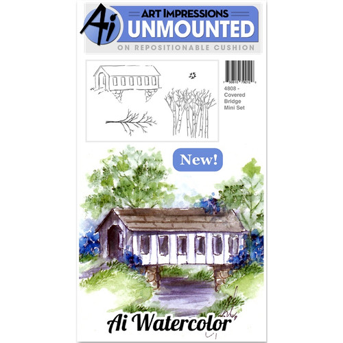 "ART IMPRESSIONS - Cling Rubber Stamp Sets 7""X4""-Covered Bridge (4808) 750810792120"