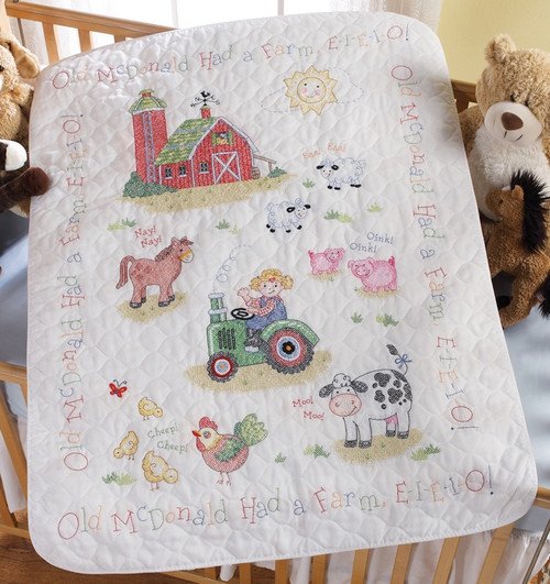 "BUCILLA - On The Farm Crib Cover Stamped Cross Stitch Kit-34""x43"" (45567) 046109455679"