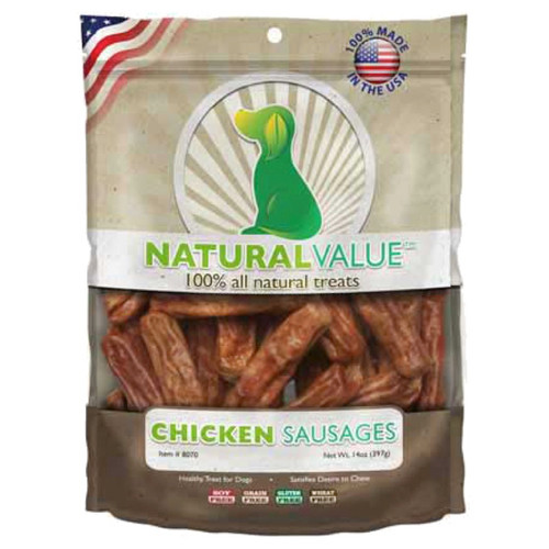 LOVING PETS PRODUCTS - Natural Value Treats 14oz-Chicken Sausages (LP8070) 842982080706
