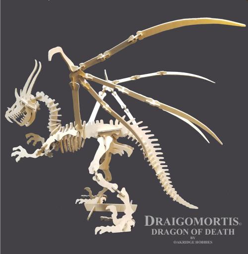 Draigomortis - Dragon of Death - Long-horned Winged Dragon Skeleton 125 Piece 3D Wooden Puzzle Craft Kit - Large - 30 Hx40 L (DRAIGOLRG)