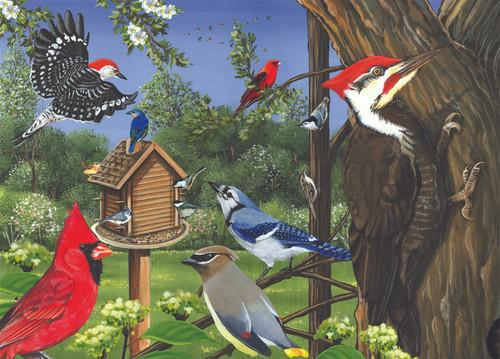 OUTSET MEDIA GAMES - Around the Birdfeeder Tray 35 Piece Framed Jigsaw Puzzle (OM58848) 625012588485