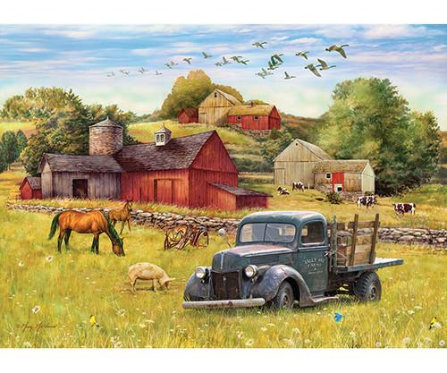 OUTSET MEDIA GAMES - Blue Truck Farm - 35 Piece Tray Jigsaw Puzzle (OM58890) 625012588904