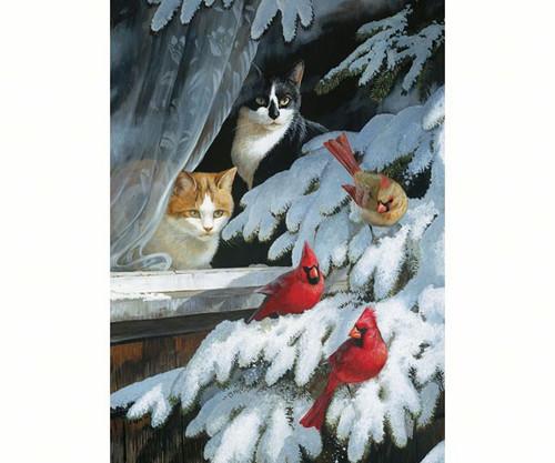 OUTSET MEDIA GAMES - Bird Watchers (Winter - Cats) - 1000 Piece Jigsaw Puzzle (OM80073) 625012517492
