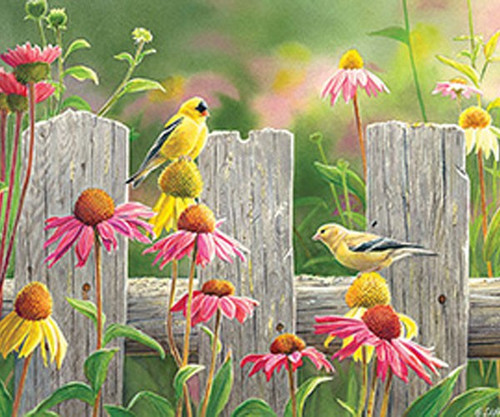 OUTSET MEDIA GAMES - Pink & Gold (Goldfinch) - 275 Large Piece Tray Jigsaw Puzzle (OM88017) 625012543491