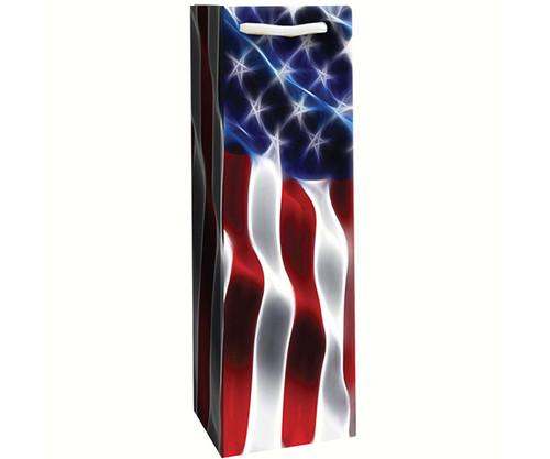 BELLA VITA - Printed Paper Single Wine Gift Bag - Freedom Flag - Set of 6 (P1FREEDOM) 822372106117