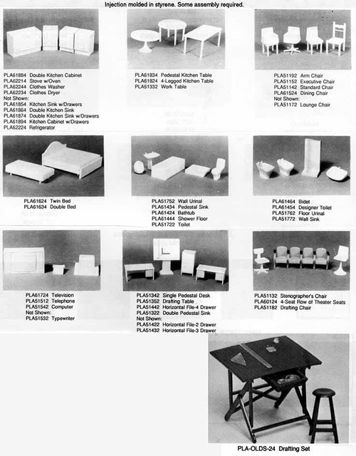 PLASTRUCT - (Architect's Half Inch Scale Furniture) - G (1:24) DESK With DOUBLE PEDESTALS (93881)