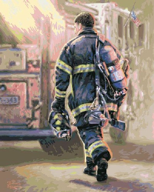 PLAID Thomas Kinkade: Selfless Service Firefighter (no blending no mixing) Paint by Number Kit (17085) 028995170850