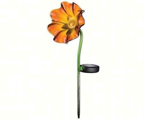 REGAL ART & GIFT - Mini Solar Poppy Garden Stake Orange REGAL11231 657641112311