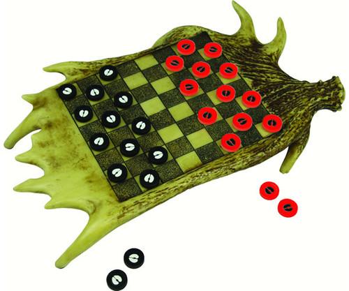 RIVER'S EDGE - Moose Antler Checkerboard Set Game (REP706) 643323970607