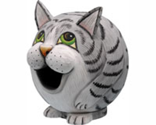 "SONGBIRD ESSENTIALS - Grey Tabby Cat ""Gord-O"" Shaped Birdhouse SE3880077 645194774087"