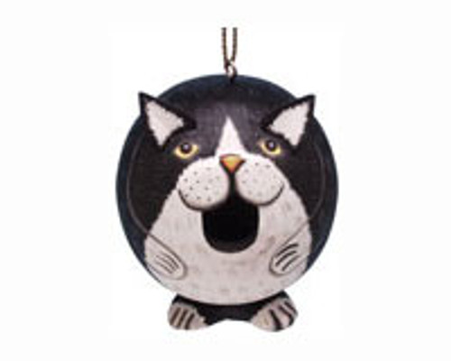 "SONGBIRD ESSENTIALS - Black & White Cat ""Gord-O"" Shaped Birdhouse SE3880203 645194774551"
