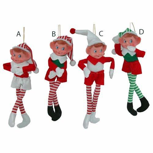 "Sterling Seasonal Happy Bendable Pixie Elf Doll Shelf Sitter 10"" (Single Elf - Assorted Styles) (144100) 017816014411"