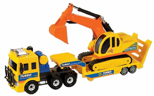 SMALL WORLD TOYS - Shovel Transporter Play Truck and Trailer (3300919) 090543009196