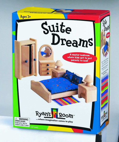 SMALL WORLD TOYS - Suite Dreams Master Bedroom - Wooden Play Dollhouse Furniture (5516440) 090543164406