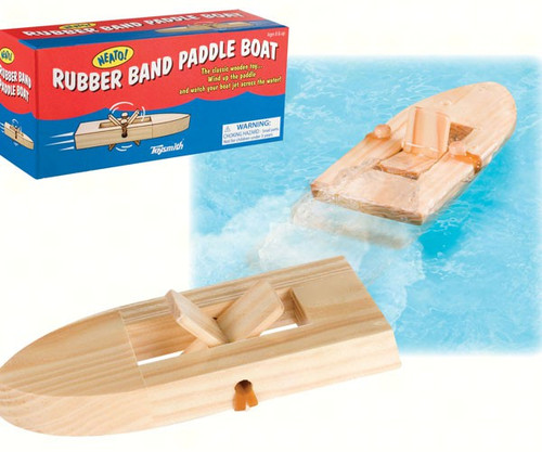 TOYSMITH - Wooden Rubber Band Paddle Boat (TS6467) 085761025226