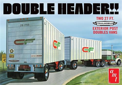 "AMT - ""Double Header"" Tandem Van Trailers 1:25 Scale Model Kit - (1132) 849398030387"