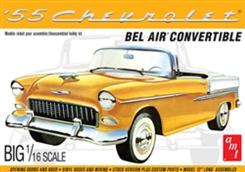 AMT - 1955 Chevy Bel Air Convertible 1:16 Scale Plastic Model Car Kit - (1134) 849398030400