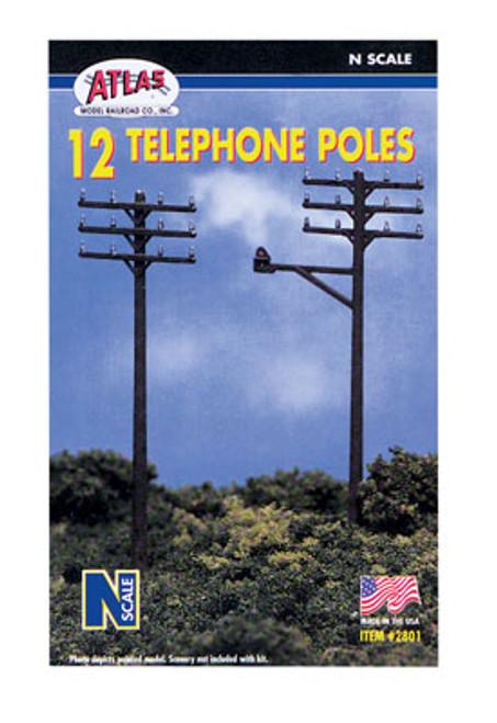 ATLAS - Model Railroad - N Telephone Poles (12) - Train Accessories (N Scale) (2801) 732573028012