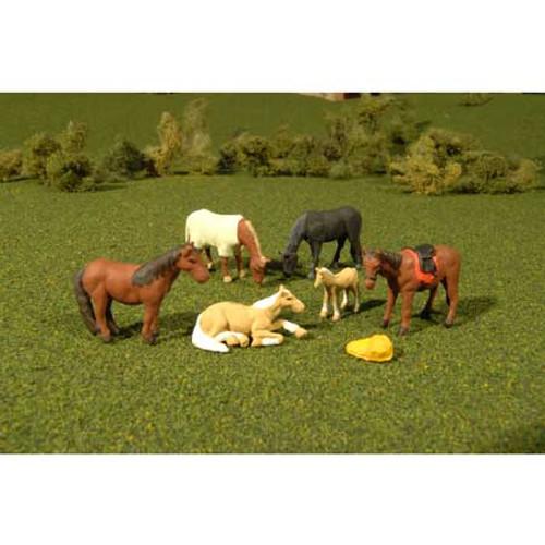 BACHMANN - O Scale Horses (6) (33169) 022899331690