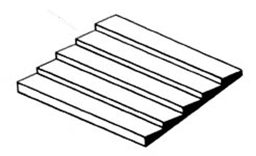 "EVERGREEN - Plastic Styrene 3D Patterned Sheet Stock - Clapboard Siding .050"" spacing (4051) 787026040516"