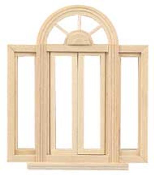 "HOUSEWORKS - Half Scale (1/2"" Scale) Dollhouse Miniature - Circlehead Double Casement Window (HWH5049) 022931250491"