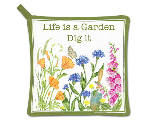 "ALICE'S COTTAGE - ""Life is a Garden"" Potholder AC21493 803246092224"