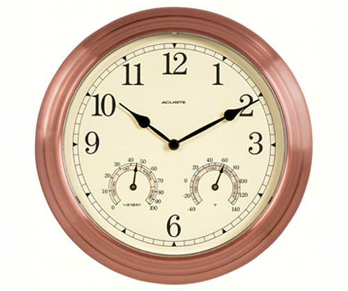ACCURITE - 13 inch Copper Indoor Outdoor Clock with Thermometer and Humidity ACCURITE00919A5 072397009195
