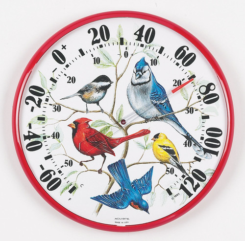 ACCURITE - Designer Edition 12 1/2 in. Indoor - Outdoor Songbirds Thermometer (ACCURITE01581) 072397015813