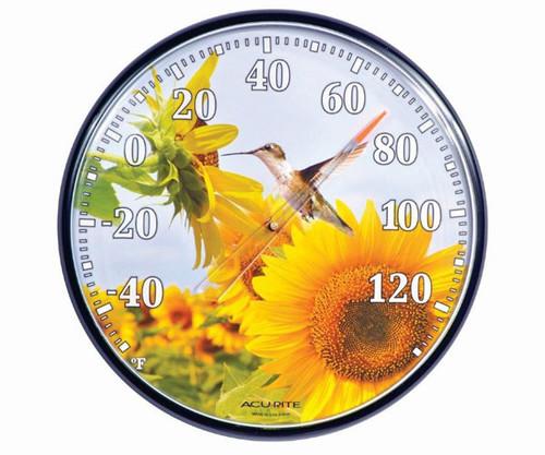 ACCURITE - Sunflower Hummingbird Design Round Thermometer ACCURITE01925 072397019255