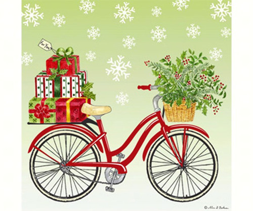 ALICE'S COTTAGE - Holiday Bicycle Flour Sack Towel (ACU34335) 803246080115