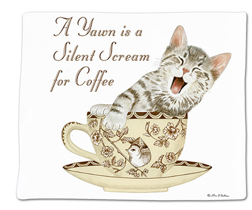 """ALICE'S COTTAGE - """"A Yawn Is A Silent Scream For Coffee"""" Single Flour Sack Towel ACU34495 803246092187"""