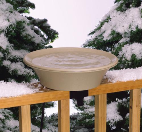 ALLIED PRECISION - 14 in. Deck Rail Bird Bath with Pole - Heated (ALLIEDPR14B) 022102141009