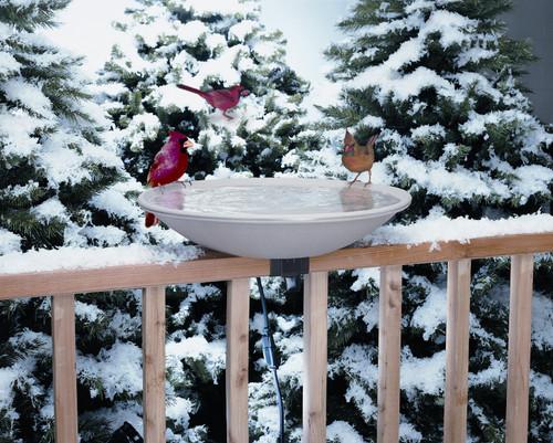 ALLIED PRECISION - 20 in. EZ Deck Tilt & Clean Bird Bath -Electric Heated - with Deck Rail Hardware (ALLIEDPR650) 022102650006