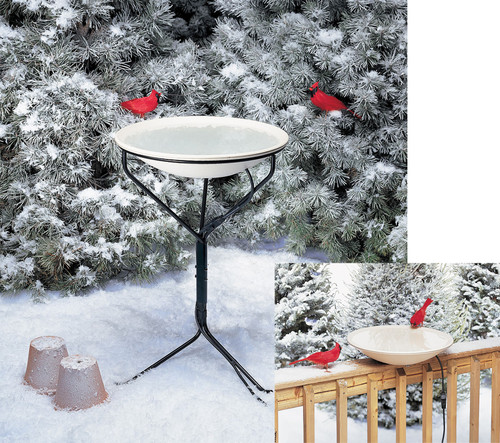 ALLIED PRECISION - 20 in Electric Heated Bird Bath with Metal Stand (ALLIEDPR970) 022102097009