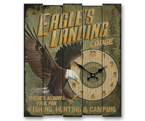 AMERICAN EXPEDITION - Wooden Cabin Clock Eagles Landing (AMEWCBK403) 659356046370