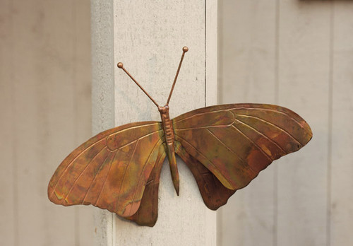 ANCIENT GRAFFITI - Butterfly - Metal Sculpture Garden Statuary Figurine Wall-Mount Flamed Copper (ANCIENTAG1021) 638071770685