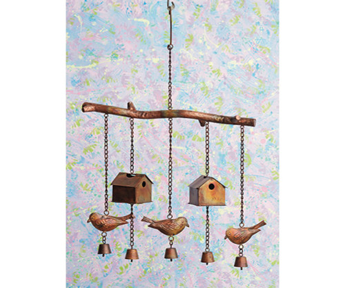 ANCIENT GRAFFITI - Flamed Bird House and Birds Wind Chime (ANCIENTAG1421) 638071785863