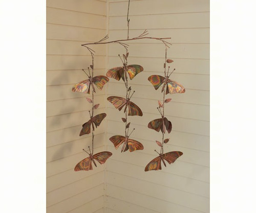 ANCIENT GRAFFITI - Butterfly Ornamental Triple Strand Hanging Flamed Copper Mobile - Set of 2 (ANCIENTAG87032) 638071780134