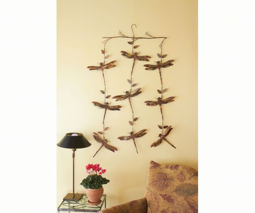 ANCIENT GRAFFITI - Dragonfly Triple Strand Hanging Flamed Copper Mobile - Set of 2 (ANCIENTAG87033) 638071780141