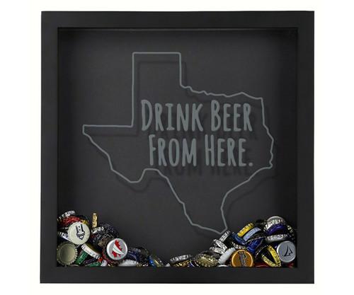 BEER CAP TRAPS - Shadow Box Texas - Drink Beer - Bottle Cap Display (BCSBDBFHTX) 638302727860