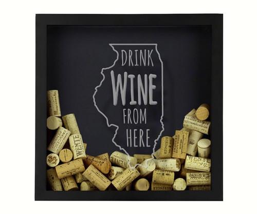 BEER CAP TRAPS - Illinois - Wine Cork & Beer Cap Holder Shadow Box BCSHADBOXWBFHIL 4872193195773