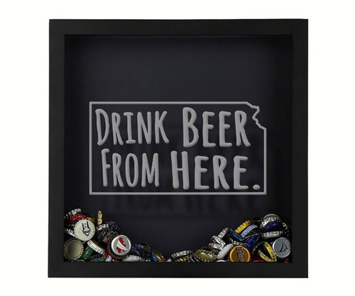 BEER CAP TRAPS - Shadow Box Kansas - Beer Cap Collector's Trap BCTSHADBOXTYPKS 4872193195865