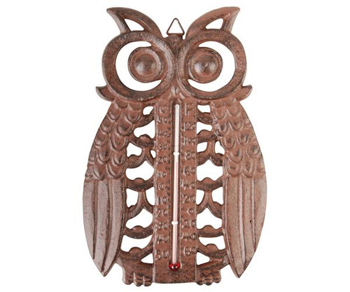 BEST FOR BIRDS - Owl Thermometer Cast Iron Antique Brown (BFBTT185) 8714982077401