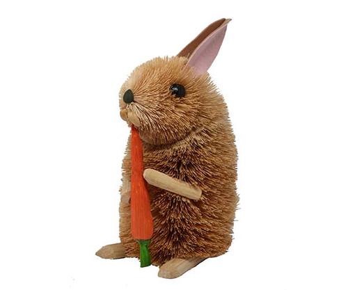 BRUSHART - 10 inch Rabbit with Carrot Brush Figurine (BRUSH0173L) 645194202467