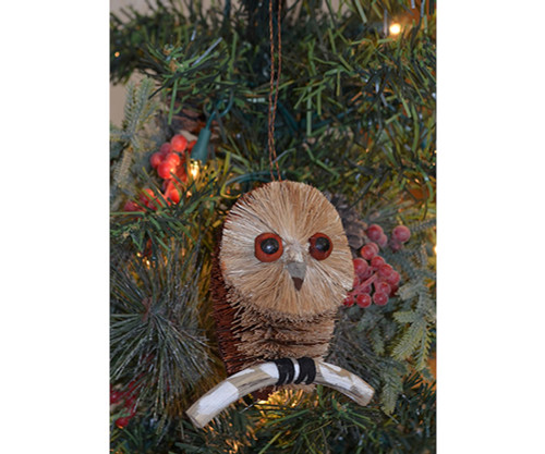 BRUSHART - Owl Spotted w/ Branch Ornament (BRUSHOR155) 645194202559
